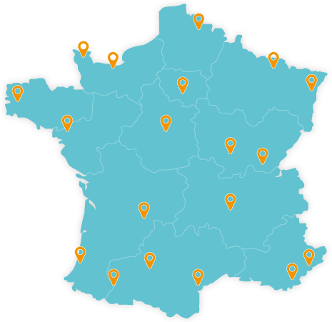 Carte de France des bornes de recharge véhicule électrique